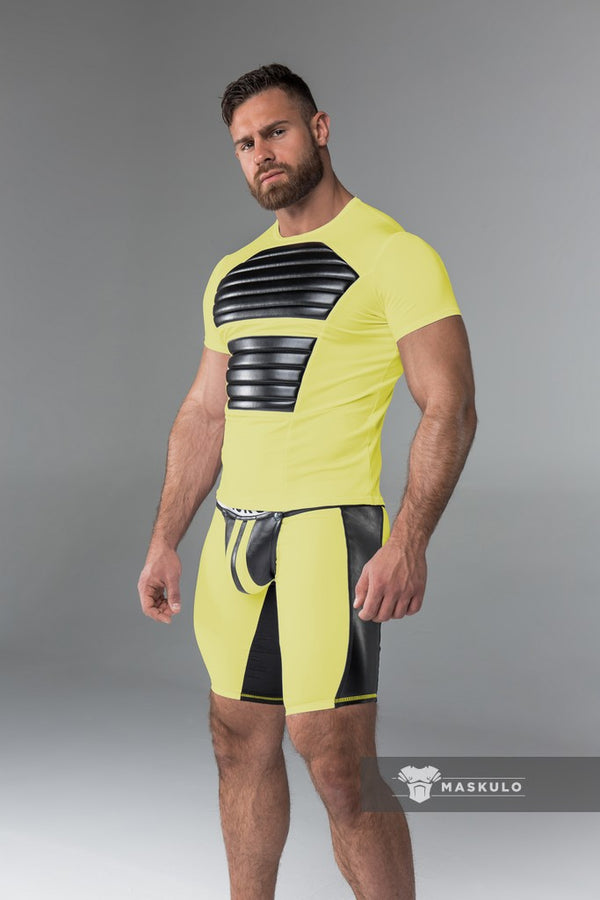 Markdown. Men's Fetish Shorts. Codpiece. Rear Zipper. Yellow. Floor Sample