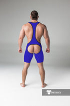 Armored. Men's Fetish Wrestling Singlet. Codpiece. Open rear