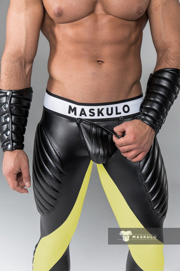 Armored. Men's Fetish Leggings. Codpiece. Zipped rear. Navy Blue. Yellow