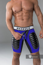 Armored. Men's Fetish Shorts. Codpiece, Open rear, Thigh pads