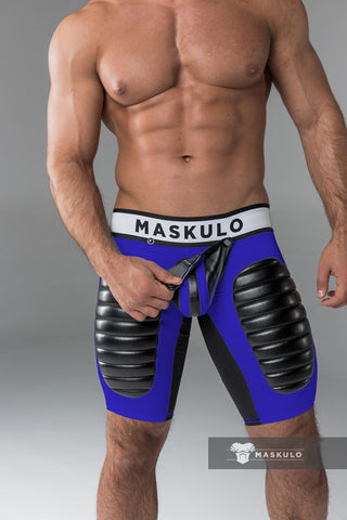 Men's Fetish Shorts. Codpiece, Thigh pads