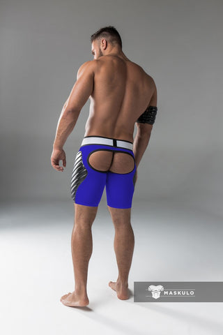 Markdown. Men's Fetish Shorts. Codpiece, Open rear, full thigh Pads. No inner thigh stripe.