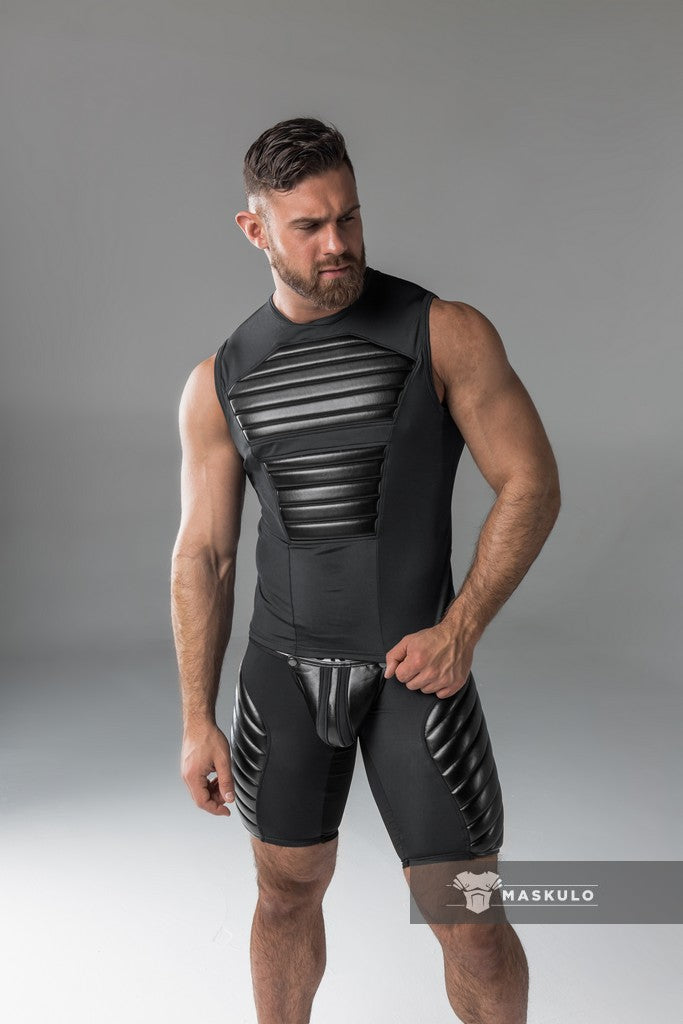 Armored. Men's Fetish Tank Top. Spandex. Front Pads