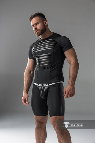 Men's Fetish T-Shirt. Spandex. Front pads. Black