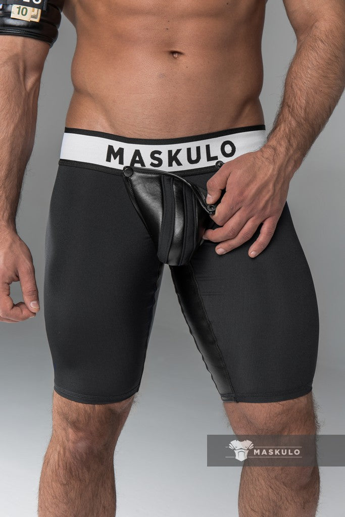 Armored. Men's Cycling Shorts. Codpiece. Rear Zipper