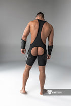 Markdown. Men's Fetish Wrestling Singlet. Codpiece. Open Rear. Full thigh Pads. Shop Window Sample
