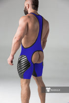 Men's Fetish Wrestling Singlet. Codpiece, Open rear, full thigh Pads