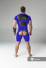 Men's Fetish Shorts. Codpiece, Open rear, Thigh pads. Royal Blue + Black
