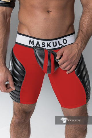 Markdown. Men's Fetish Shorts. Codpiece, full thigh Pads. Material defects