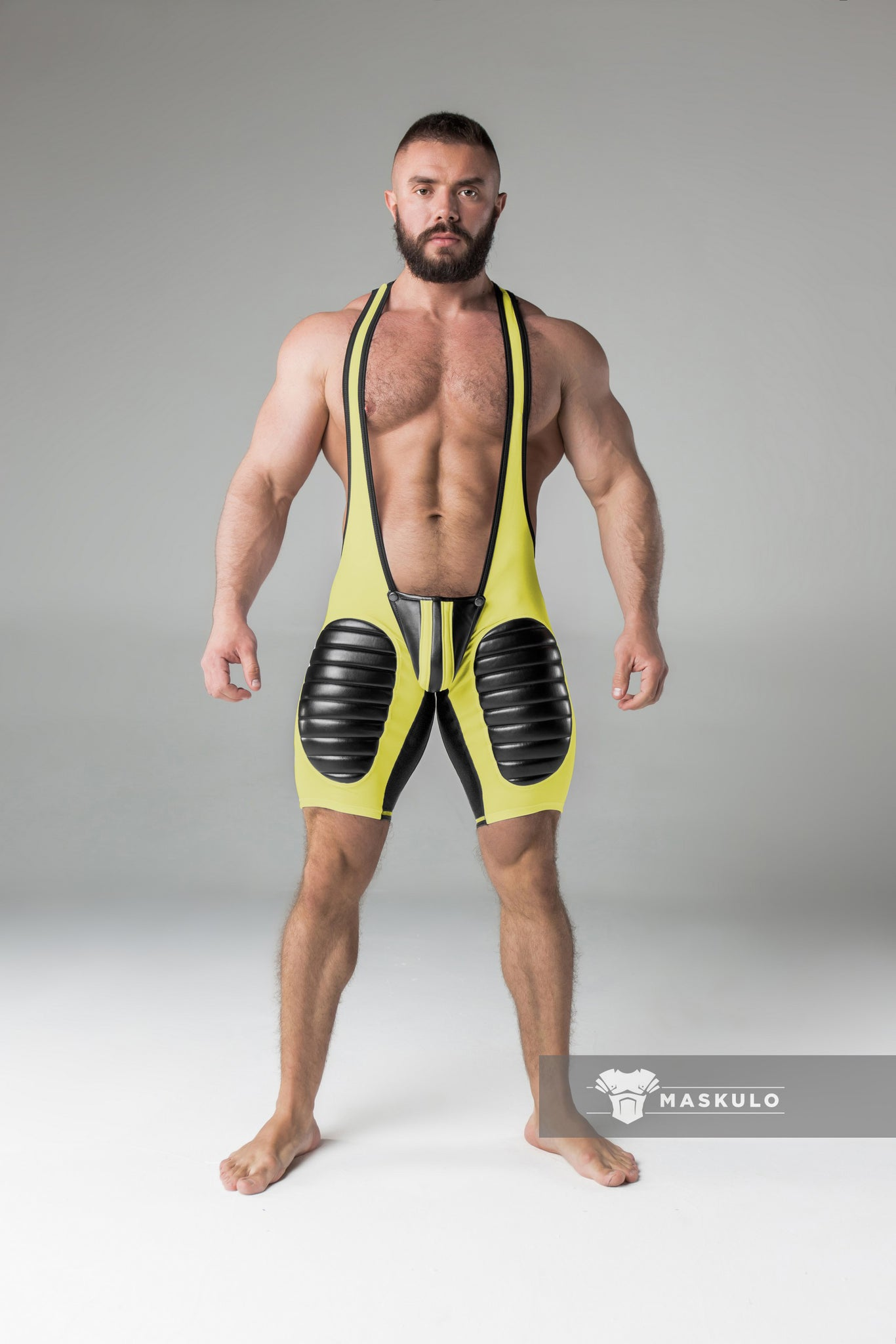 Markdown. Men's Fetish Wrestling Singlet. Codpiece, Open rear, Thigh pads. Faux leather stripe.