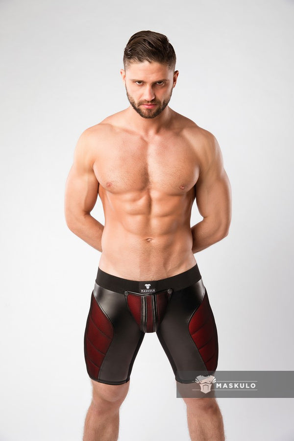 Armored. Color-Under. Men's Fetish Shorts. Zipped rear