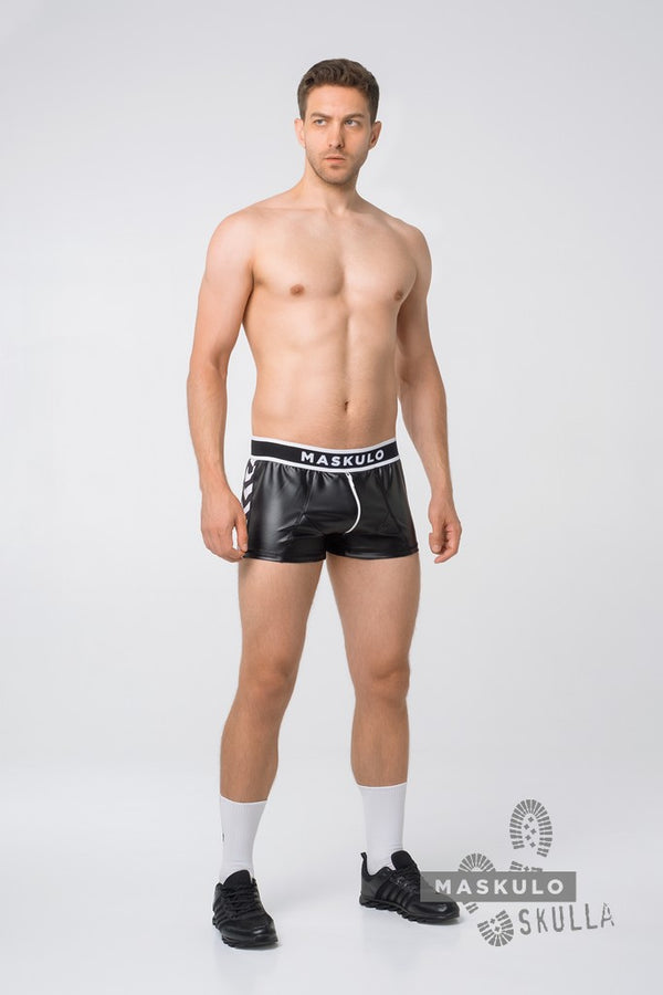 Markdown. Men's Fetish Leatherette Shorts. Print Defect