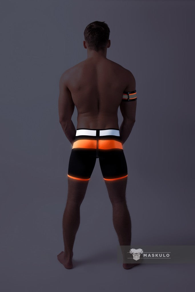 Youngero. Men's Fetish Shorts. Codpiece. Zipped rear. Neon