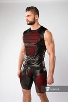 Armored. Color-Under. Men's Fetish Tank Top. Front Pads