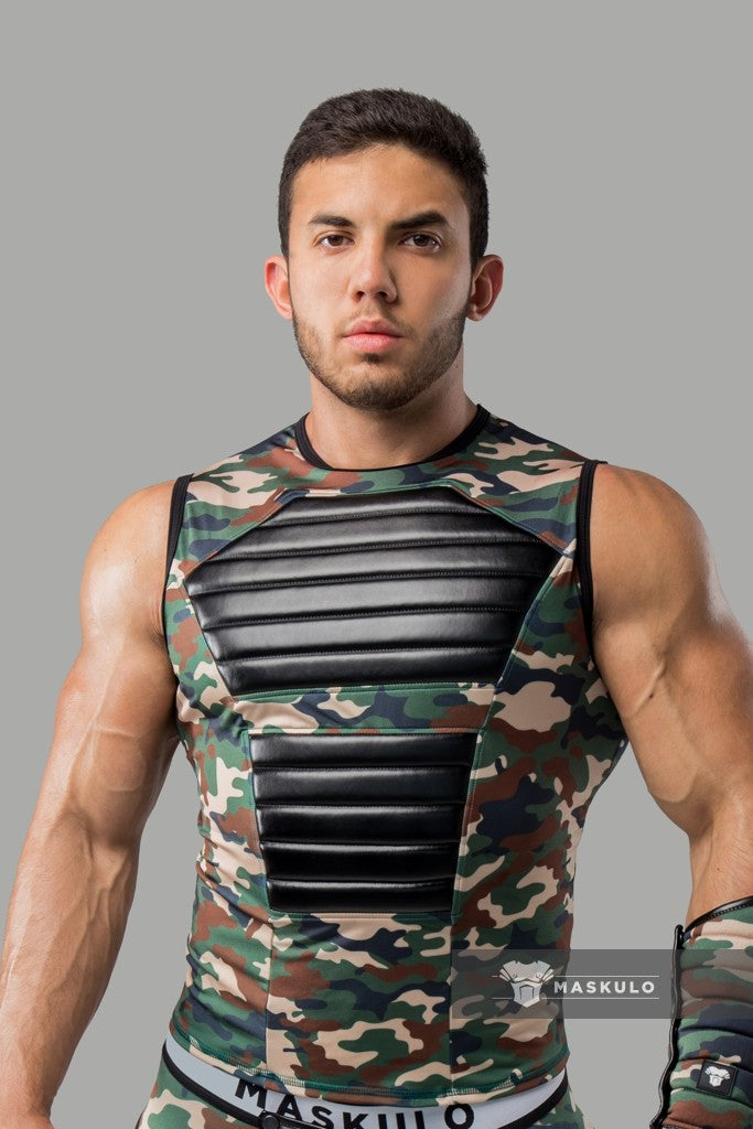Armored. Men's Fetish Tank Top. Spandex. Front Pads. Camo