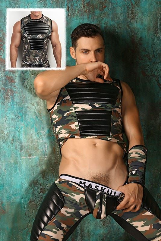 SALE Armored. Men's Fetish Tank Top. Spandex. Front Pads. Camo