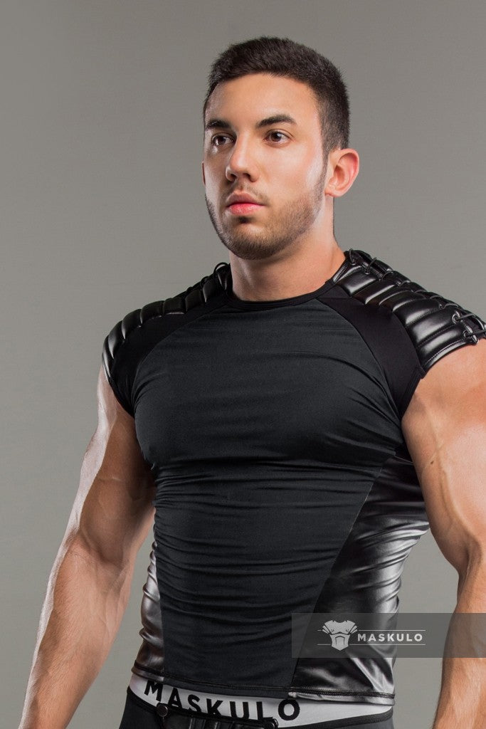Armored. Men's Fetish Top. Spandex. Shoulder Lacing