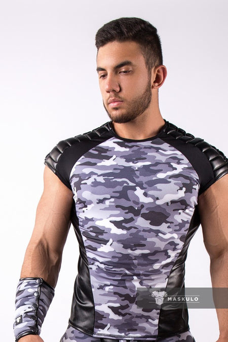 Armored. Men's Fetish Top. Spandex. Shoulder lacing. Camo