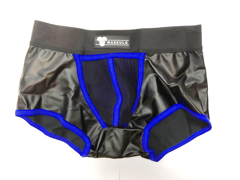 Markdown. Men's Fetish Trunks. Mesh Codpiece. Zippered Rear. Rubber Logo