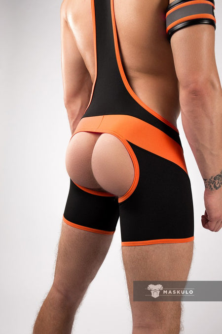 Disco. Men's Fetish Wrestling Singlet. Codpiece. Open rear. Neon