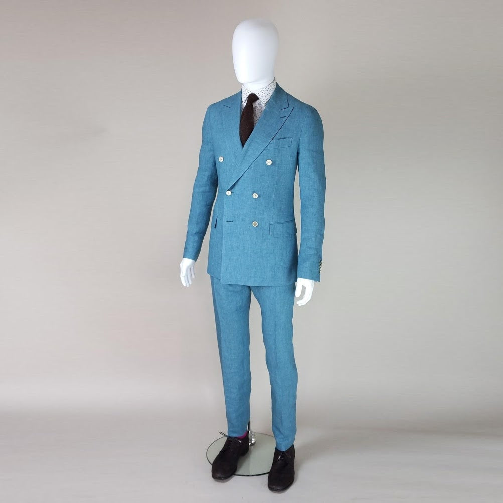 John Goodwin Look No. 19181 TTY | Complete Look: Turquoise Suit, Floral Shirt and Textured Tie