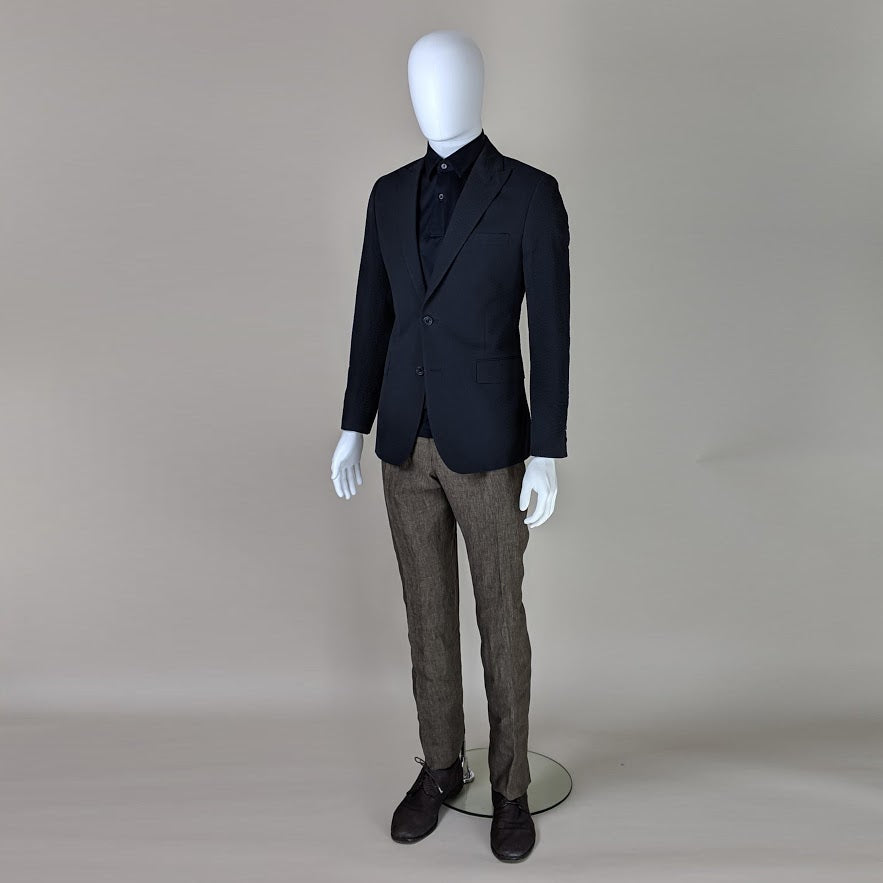 John Goodwin Look No. 19178 SII | Complete Look: Navy Blue Seersucker Jacket, Olive Green Trousers, Dark Blue Polo Shirt