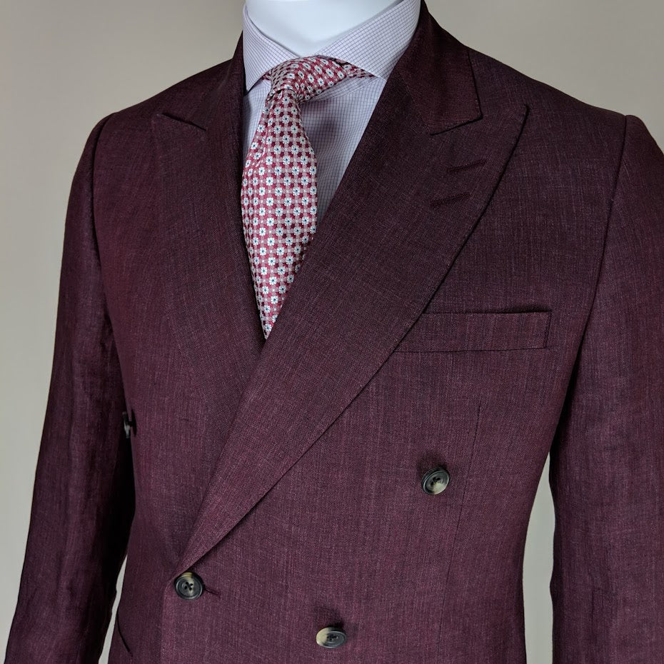 John Goodwin Look No. 19147 VER | Complete Look: Burgundy Red Suit & Lilac Checked Shirt and Woven Tie