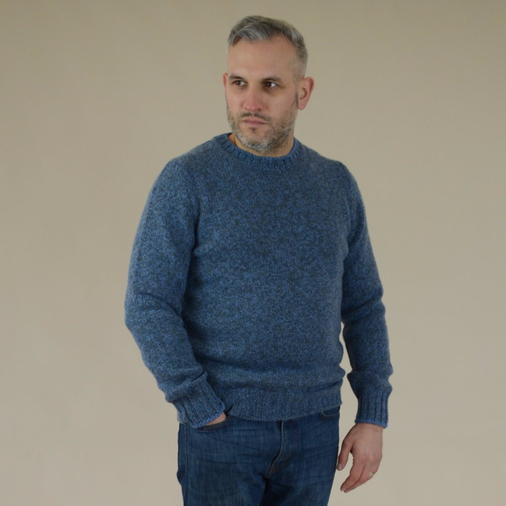 John Goodwin Black Label Knitwear: Heavy Melange Wool Crew Neck (Blue/Grey)