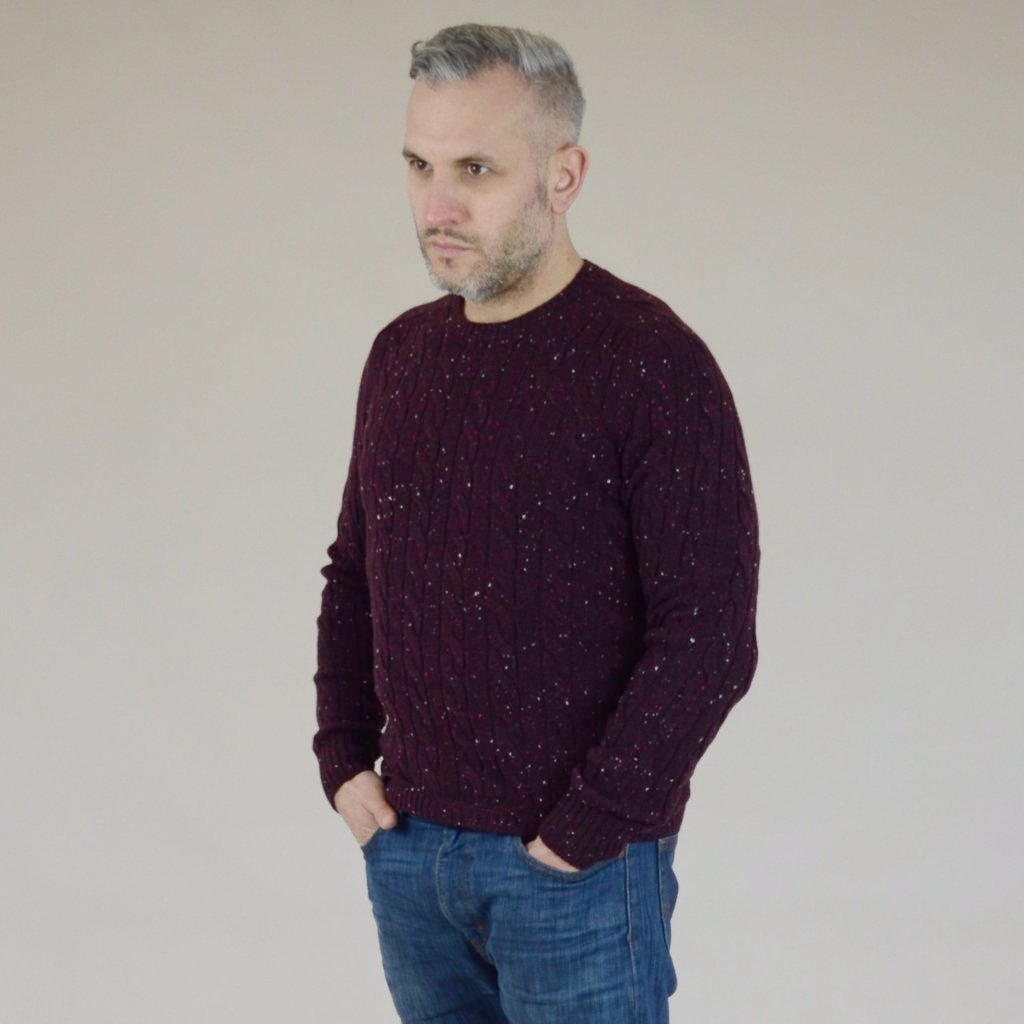 John Goodwin Black Label Knitwear: Donegal Cable Knit (Burgundy Red)