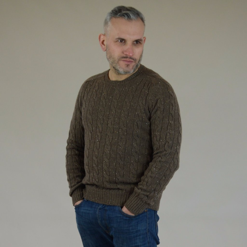 John Goodwin Black Label Knitwear: Donegal Cable Knit (Camel Brown)