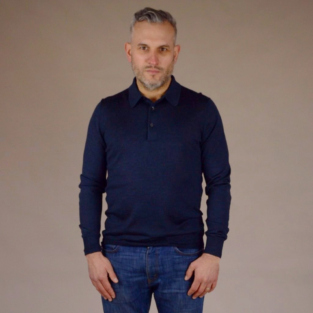 John Goodwin Black Label Knitwear: Wool & Silk Polo Top (Petrol Blue)