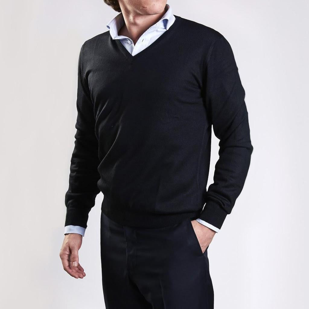 John Goodwin Black Label Knitwear: Merino V-Neck (Black)