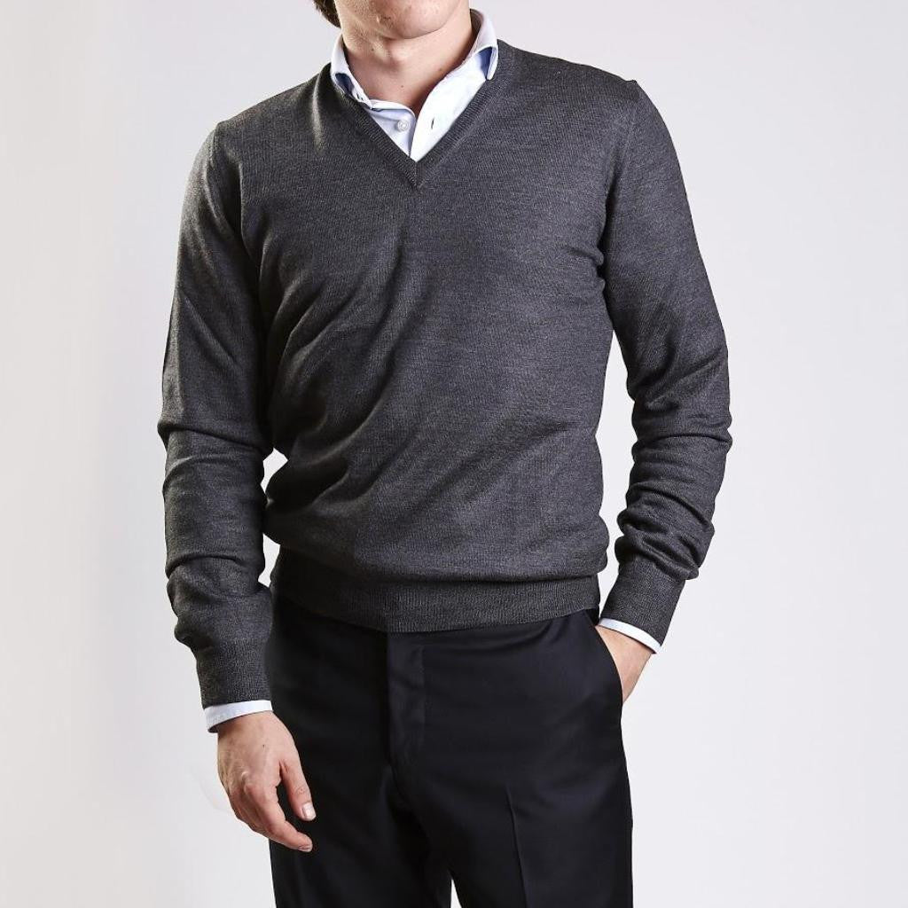 John Goodwin Black Label Knitwear: Merino V-Neck (Charcoal Grey)