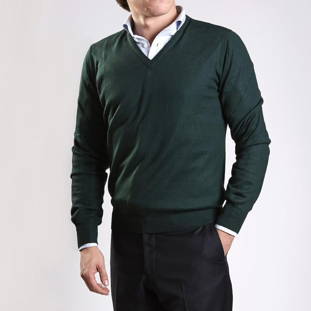 John Goodwin Black Label Knitwear: Merino V-Neck (Green)