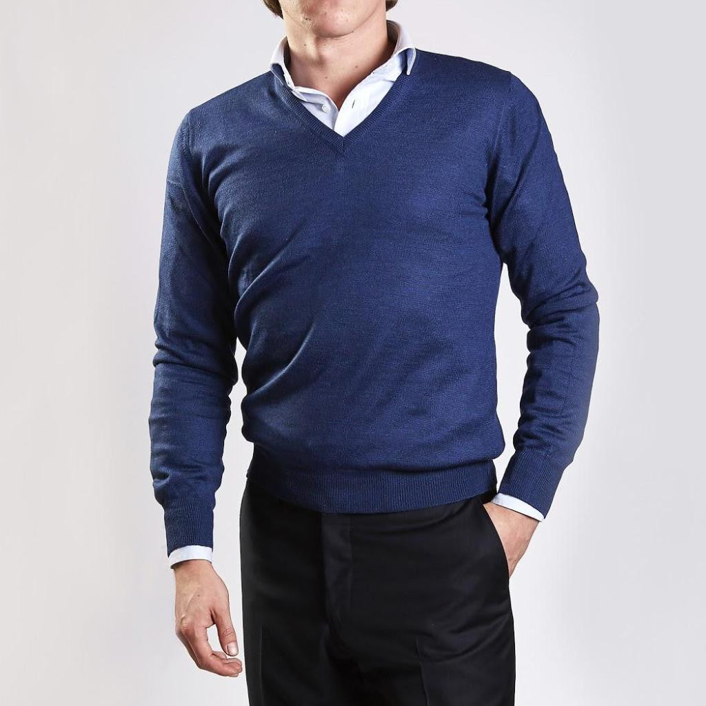 John Goodwin Black Label Knitwear: Merino V-Neck (Indigo Blue)