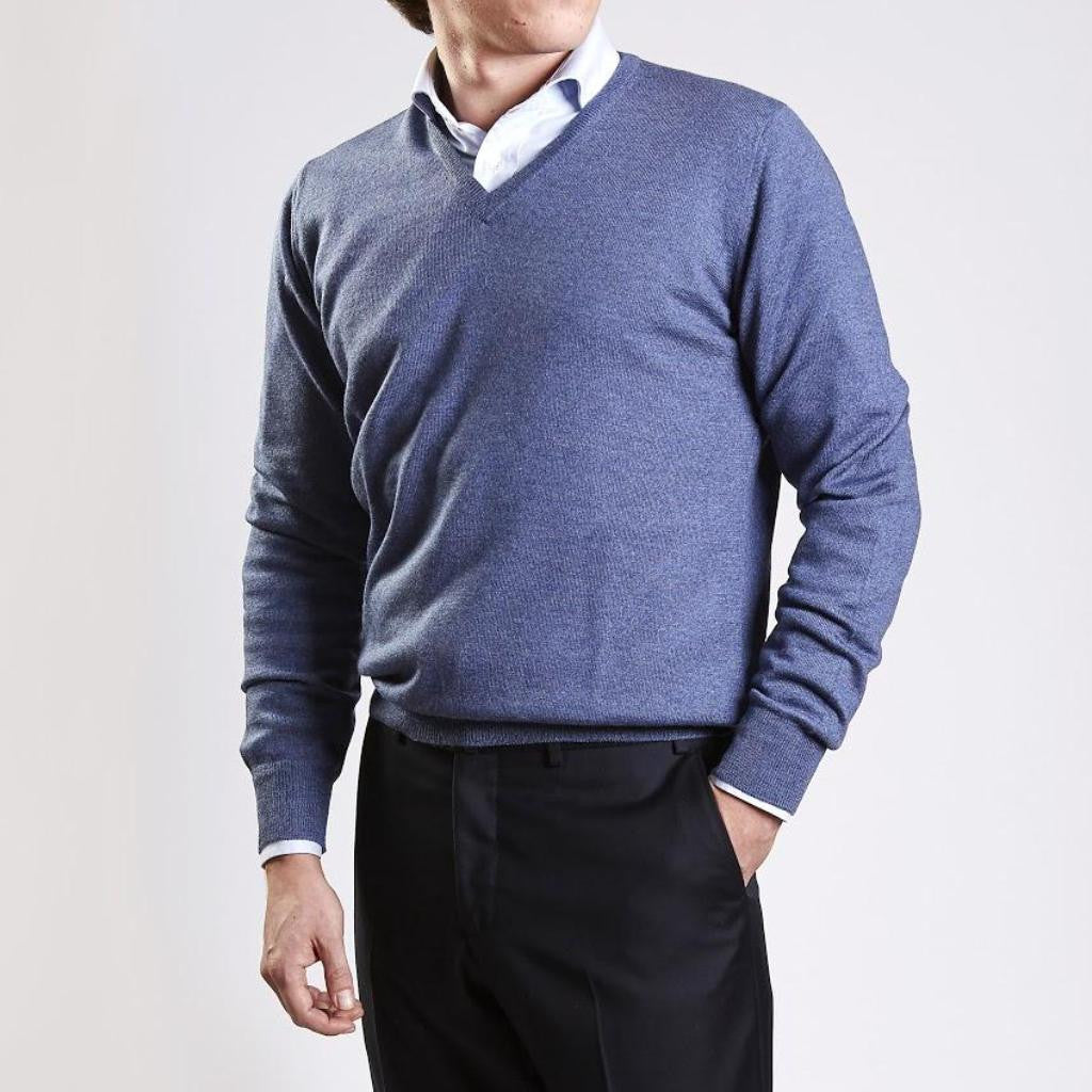John Goodwin Black Label Knitwear: Merino V-Neck (Royal Blue)