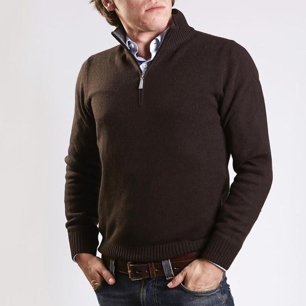 John Goodwin Black Label Knitwear: Wool & Cashmere 1/4 Zip (Brown)