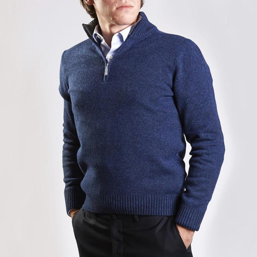 John Goodwin Black Label Knitwear: Wool & Cashmere 1/4 Zip (Indigo Blue)