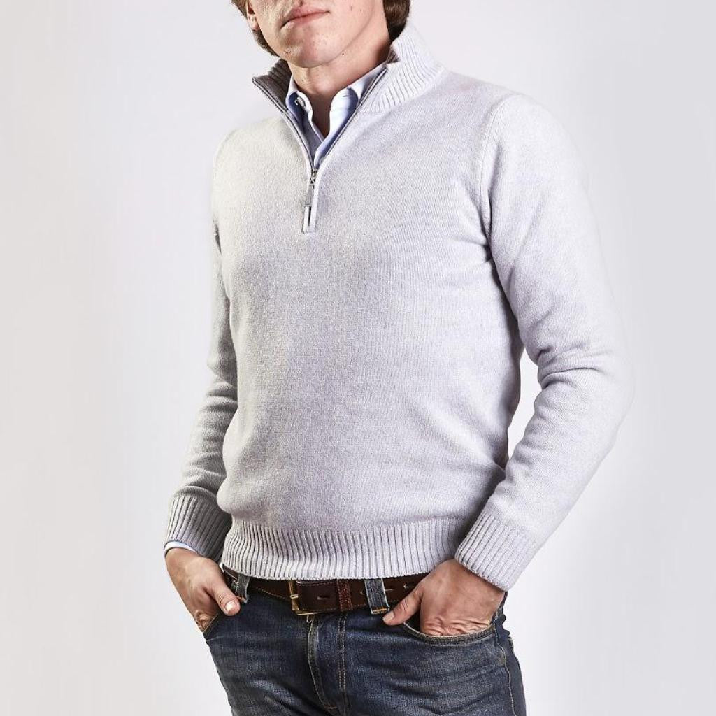 John Goodwin Black Label Knitwear: Wool & Cashmere 1/4 Zip (Silver Grey)