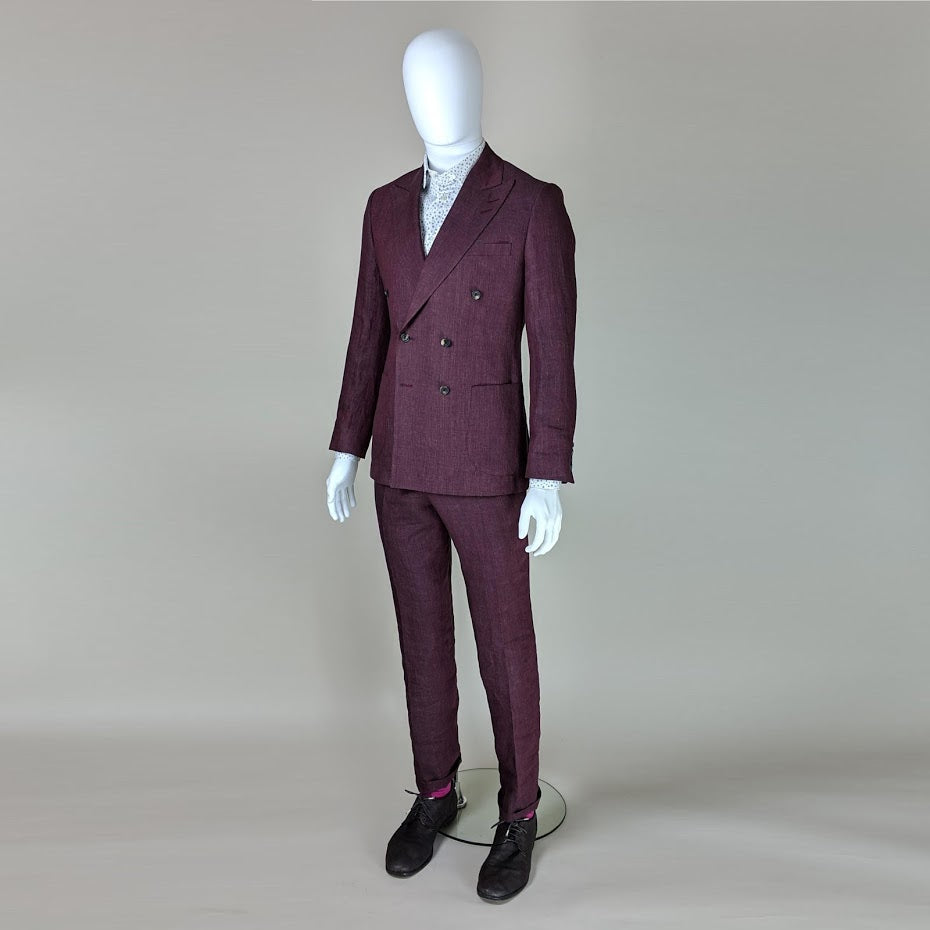 John Goodwin Look No. 19150 VTE | Complete Look: Burgundy Red Suit and Floral Shirt