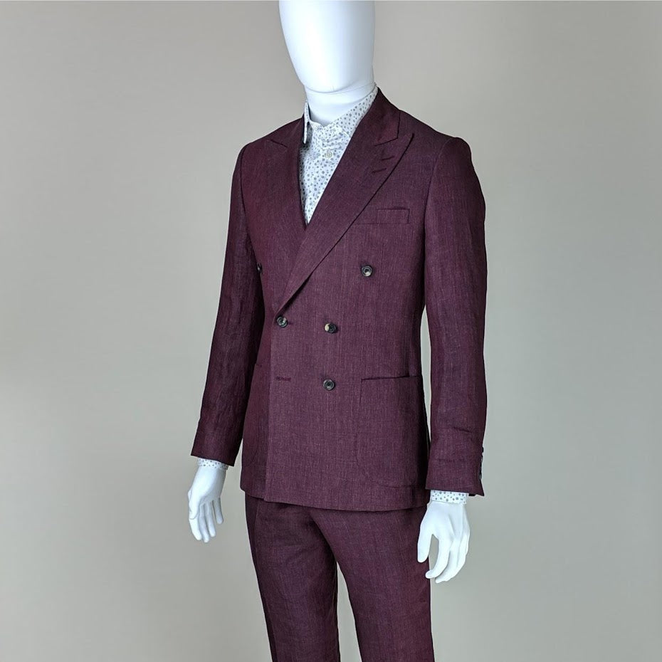John Goodwin Look No. 19150 VTE | Burgundy Red Suit and Floral Shirt