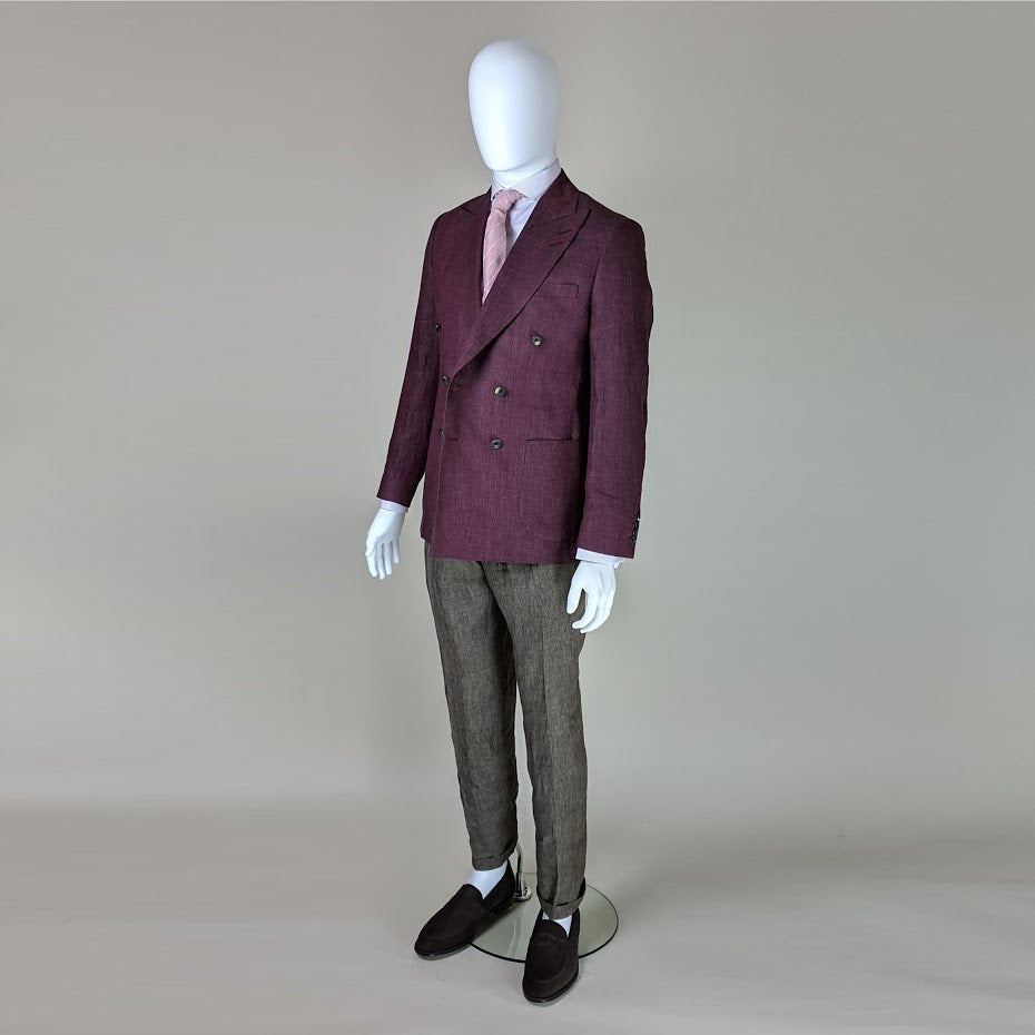 John Goodwin Look No. 19148 VSR | Complete Look: Burgundy Red Jacket, Olive Green Trousers, Lilac Checked Shirt and Woven Tie