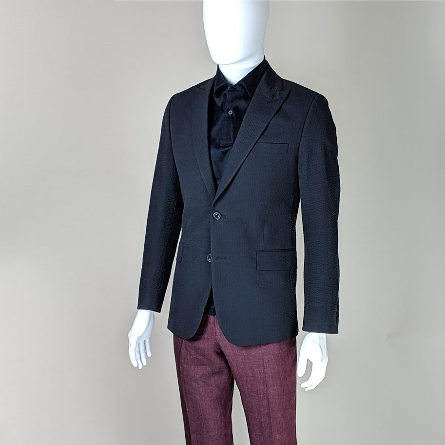 John Goodwin Look No. 19175 IEI | Complete Look: Navy Blue Seersucker Jacket, Burgundy Red Trousers and Dark Blue Polo Shirt