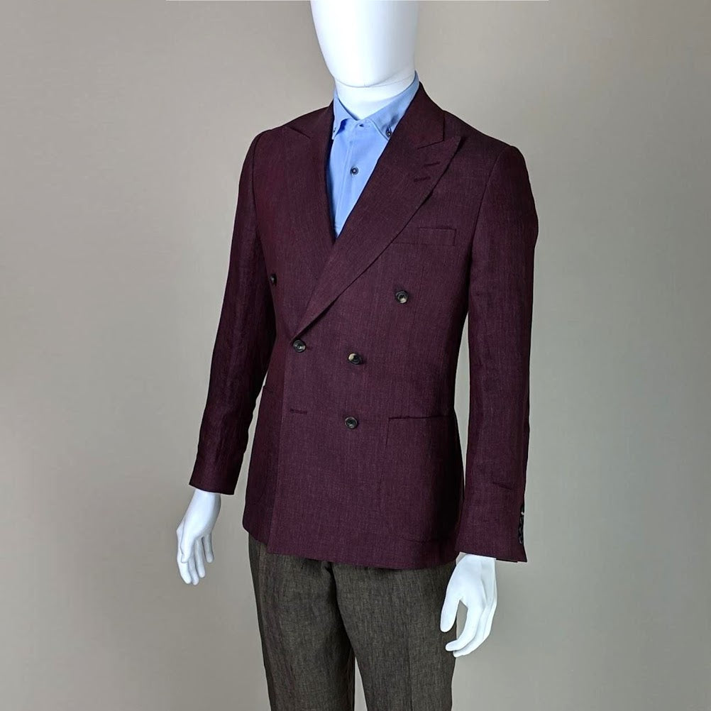 John Goodwin Look No. 19149 VSA | Complete Look: Burgundy Red Jacket, Olive Green Trousers and Light Blue Pique Polo Shirt