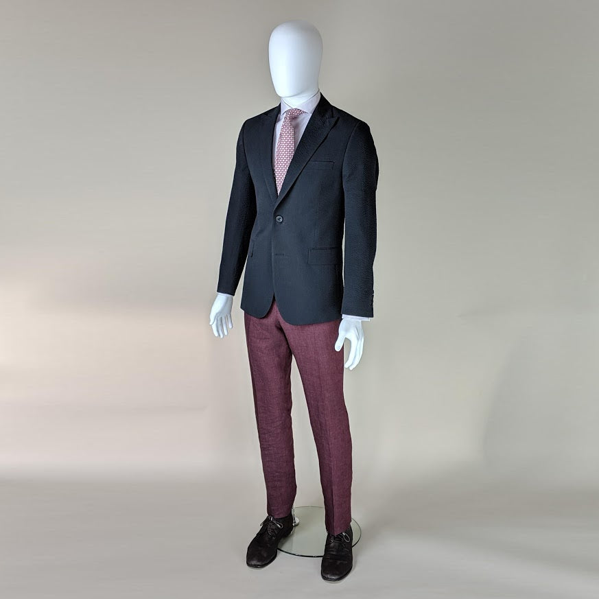 John Goodwin Look No. 19180 IER | Navy Blue Seersucker Jacket, Burgundy Red Trousers and Lilac Checked Shirt