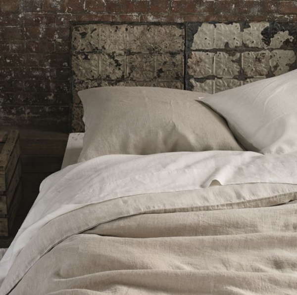 Biella Ecru & Pebble bed linen