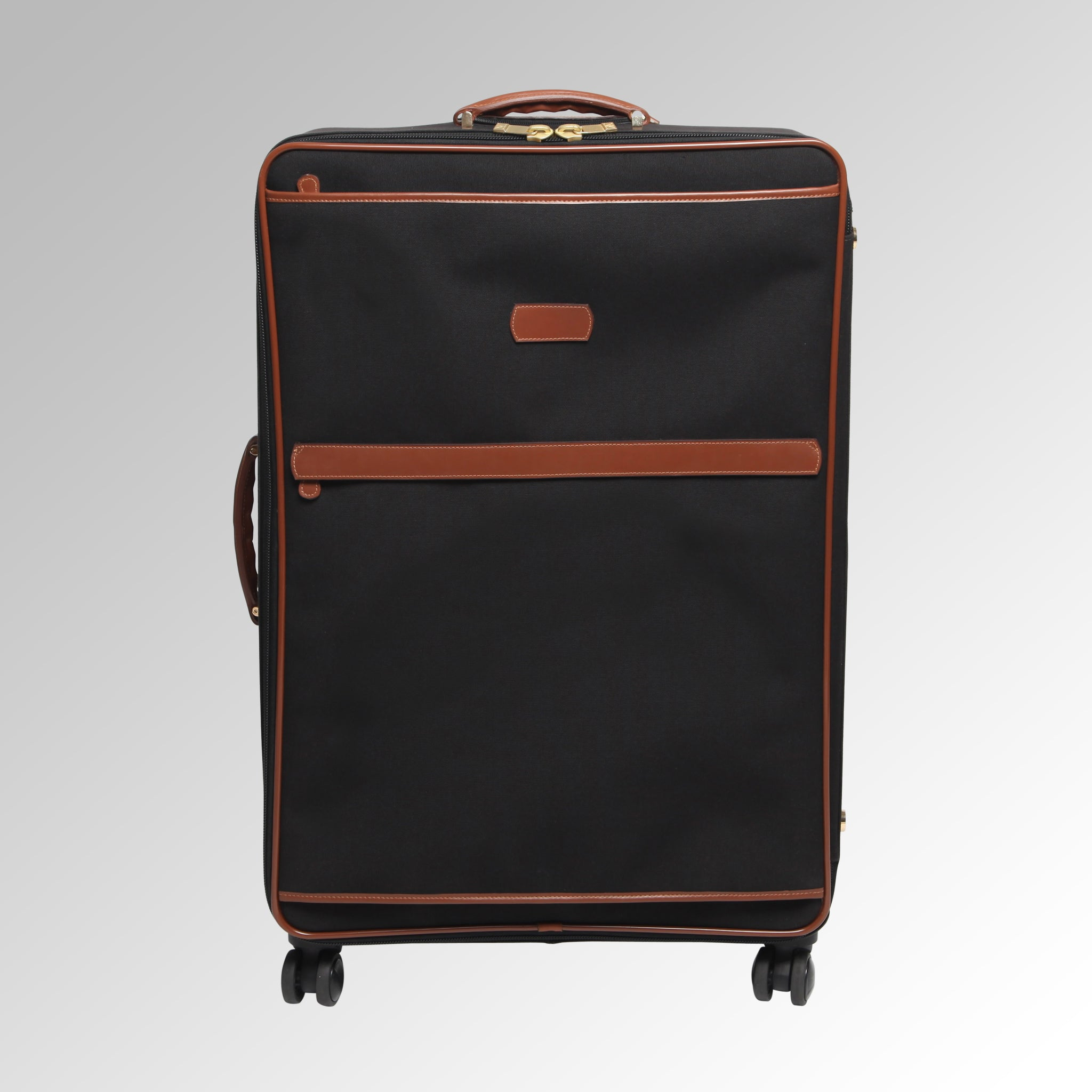 Travel - Black/Tan Wheeled Luggage