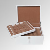PATENT LEATHER TWO TRAY JEWELRY BOX