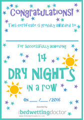 Bedwetting certificate for dry nights