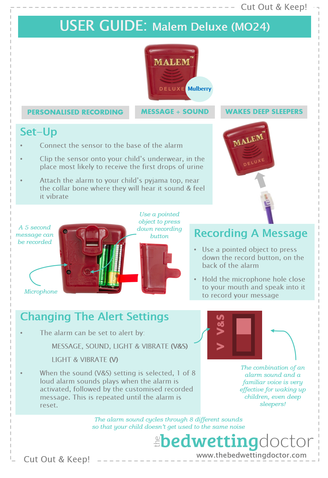 User Guide: Malem Deluxe (MO24) Bedwetting Alarm